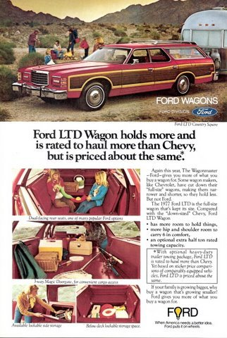 1977 Ford LTD Wagon interior view magazine print ad