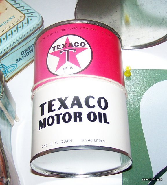 Rare Cardboard Texaco Motor Oil Can Nice Old Vintage Star