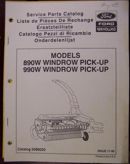 New Holland 890W, 990W Windrow Pickups Parts Manual