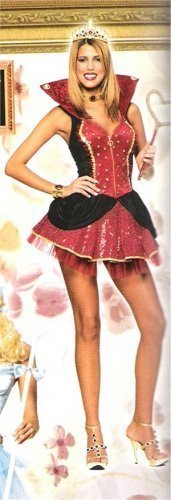 Deluxe Queen of Hearts Lady Costume SZ LG 12-14 NEW Alice Queen of Hearts Large