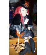 Fancy Halloween Witch Shelf Sitter Bat Broom Plush Witch NEW 20 Inches - $25.00