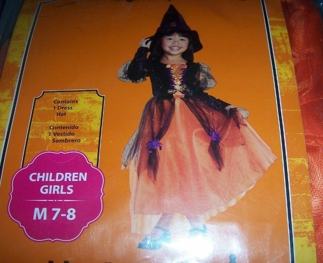Girls Pretty Witch Halloween Costume SZ M 7-8 NEW Orange Black WITCH Medium