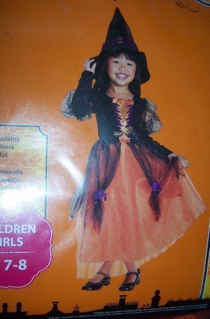 Girls Pretty Witch Halloween Costume SZ M 7-8 NEW Orange Black WITCH Medium