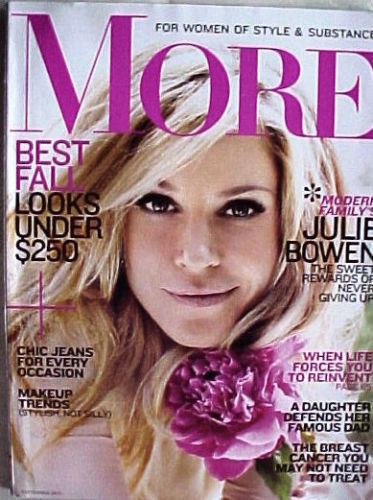 MORE 2011-SEPTEMBER-JULIE BOWEN;CHIC JEANS;BREAST CANCER;MAKEUP TRENDS  FOR WOME