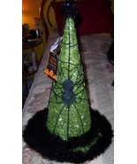 "Lighted Halloween Witch Hat Glitter Green Spider Fur Trim 18"" Tall NEW D... - $30.00"