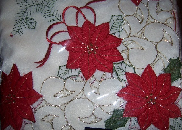 Merry Poinsettia Christmas Tablecloth Embroidered 60 x 84 Oblong NEW Gold Trim