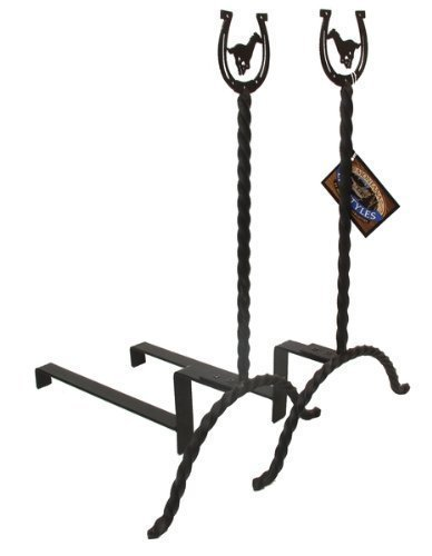 Montana Lifestyles Lucky Horse Andirons Set of 2 NEW Iron Fireplace Andirons