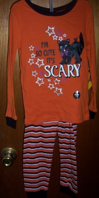 Toddler Girls  Halloween Pajama Set So Cute It's Scary SZ 4T Black Cat NEW
