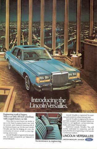 1977 Lincoln Versailles inside World Trade Center print ad