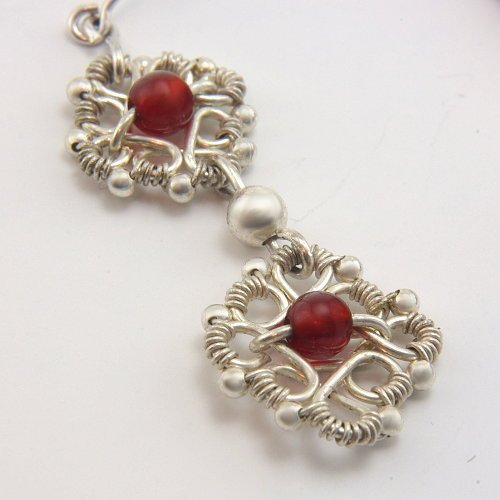 Silver plated wire wrapping earrings with cornelian agate