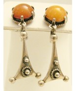 STERLING & AMBER EARRINGS - $25.00
