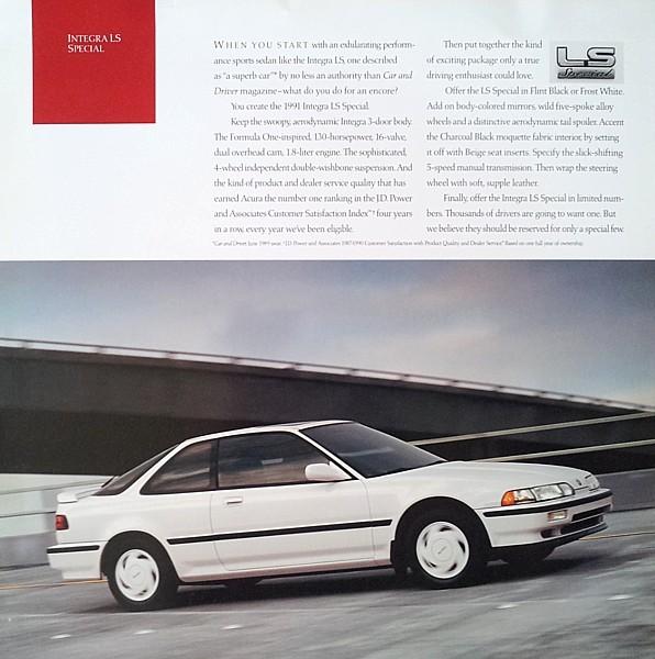 1991 Acura INTEGRA LS SPECIAL Brochure Catalog Sheet US 91