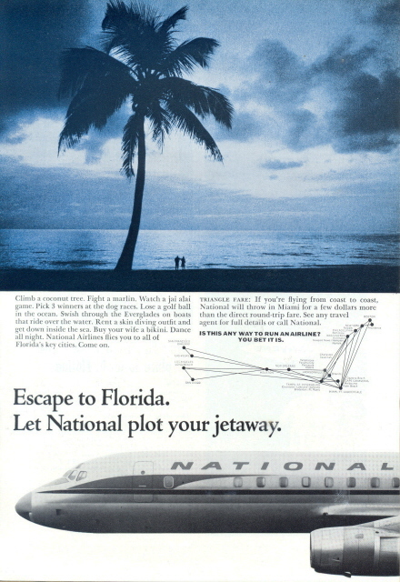 1962 National Airlines route Florida beach couple ad