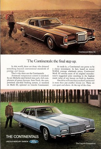 1967 Lincoln Continential and Lincoln Mark III print ad