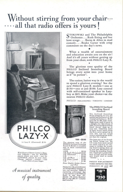 1933 Philco Lazy-X lazy-x Radio musical instrument print ad