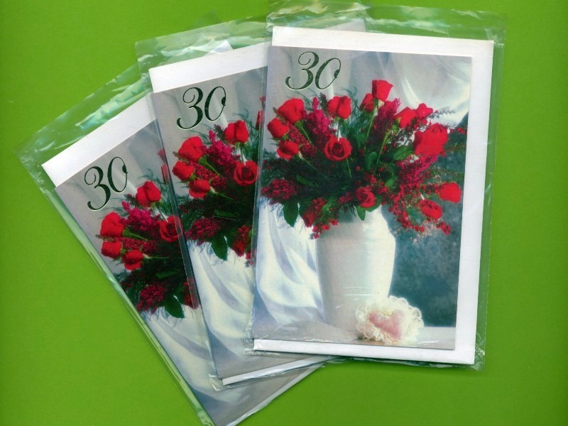 30th Birthday Red Roses. 3 pcs. Small Double Folded Cards With Envelopes