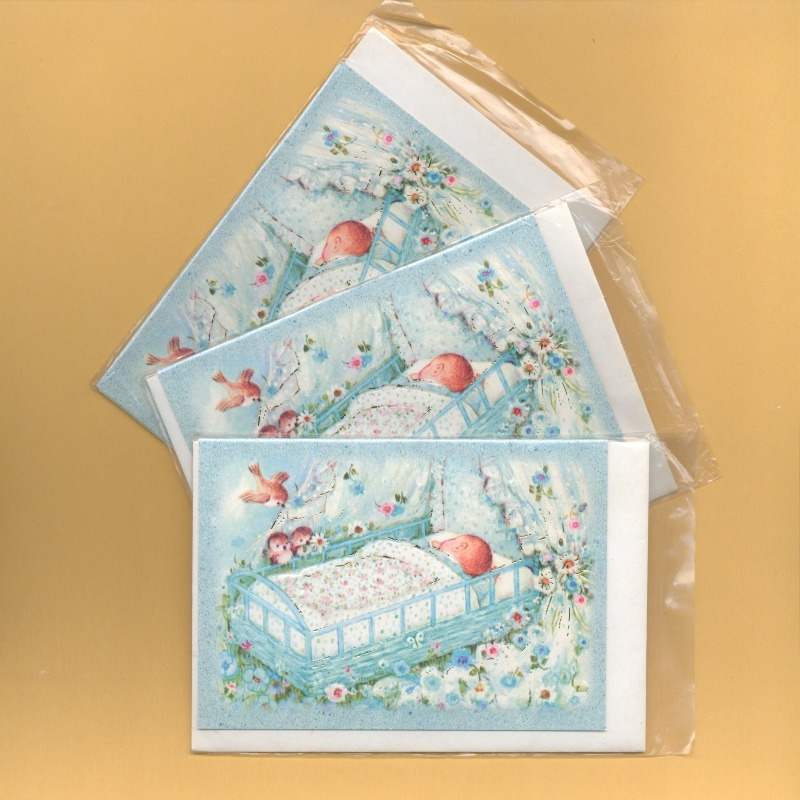 Sweetest Newborn Baby Boy. 3 pcs. Small Double Folded Cards With Envelopes