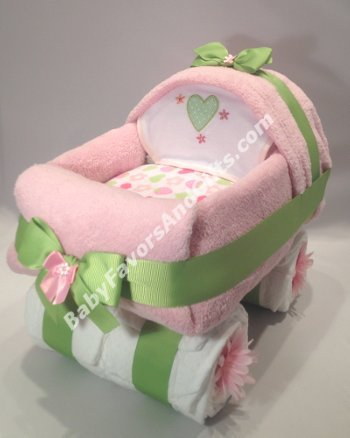 Baby Carriage Diaper for Girl in Many Colors - gift or centerpiece for baby show