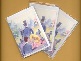 Romantic carriage ride. 3 pcs. Small Double Folded Cards With Envelopes - $5.25