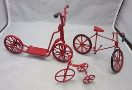 Red metal Bike, Bicycle figurines.Tricycle, Scooter - $13.99