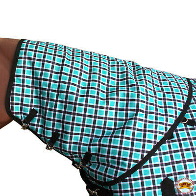 """78/"""" Hilason 1200D Winter Poly Horse Sheet Belly Wrap Turquoise Plaid U-H-78"""