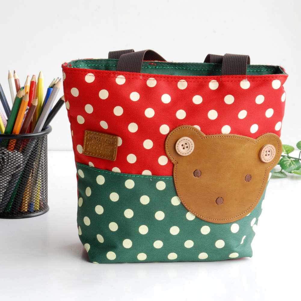 Primary image for [Bear-Crimson] Shopper Bag/Tote Bag-Small Size(9.4*2.7*7.8)