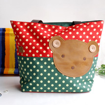 [Bear-Crimson] Tote Bag/Shopper Bag-Big Size(16.5*5.5*12.6) - $20.99