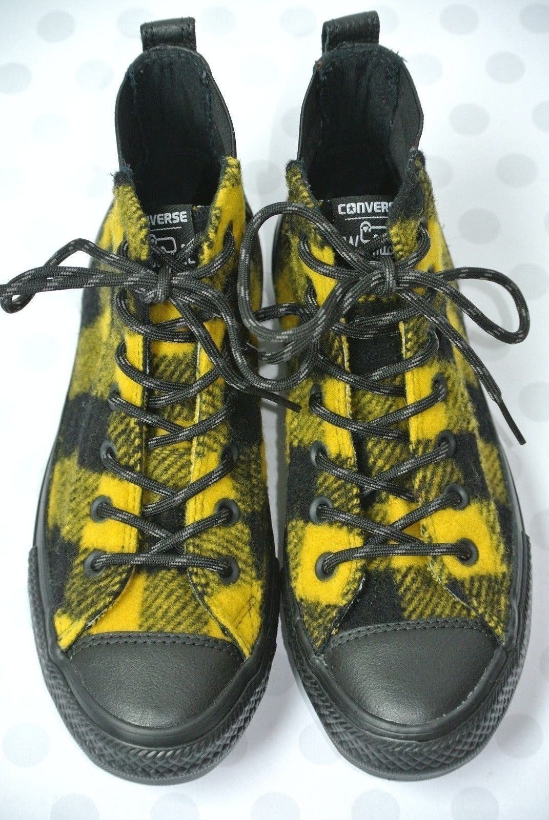 NEW Converse Chelsea Woolrich Womens Sz 7.5 M Black Yellow Hi Top Boots Shoes