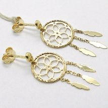 Yellow Gold Drop Earrings 750 18k, dreamcatcher, feathers, Italy Made image 3