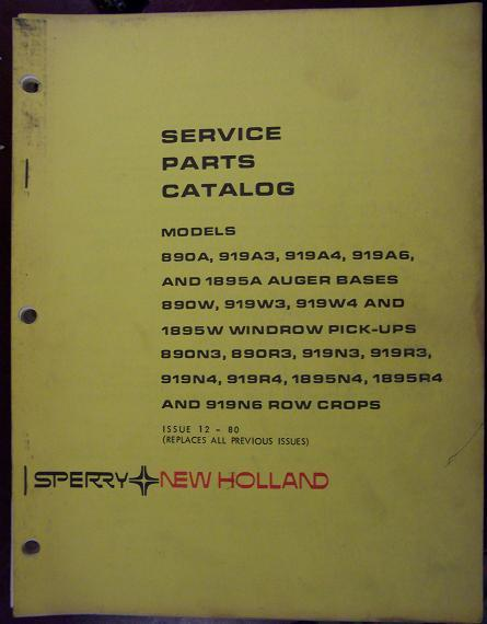 New Holland 890, 892, 1890, 1895, 1900, 2100 Harvesters Attachments Parts Manual