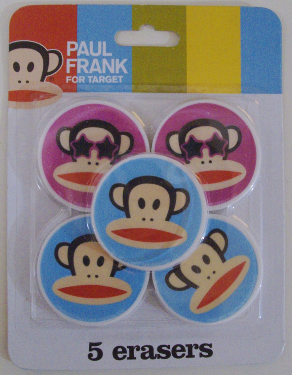 Paul Frank for Target Coolius Julius Monkey set of 5 erasers - New