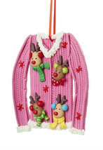 "KURT S. ADLER CLAYDOUGH ""UGLY CHRISTMAS SWEATER"" PINK w/ REINDEER XMAS O... - $8.88"
