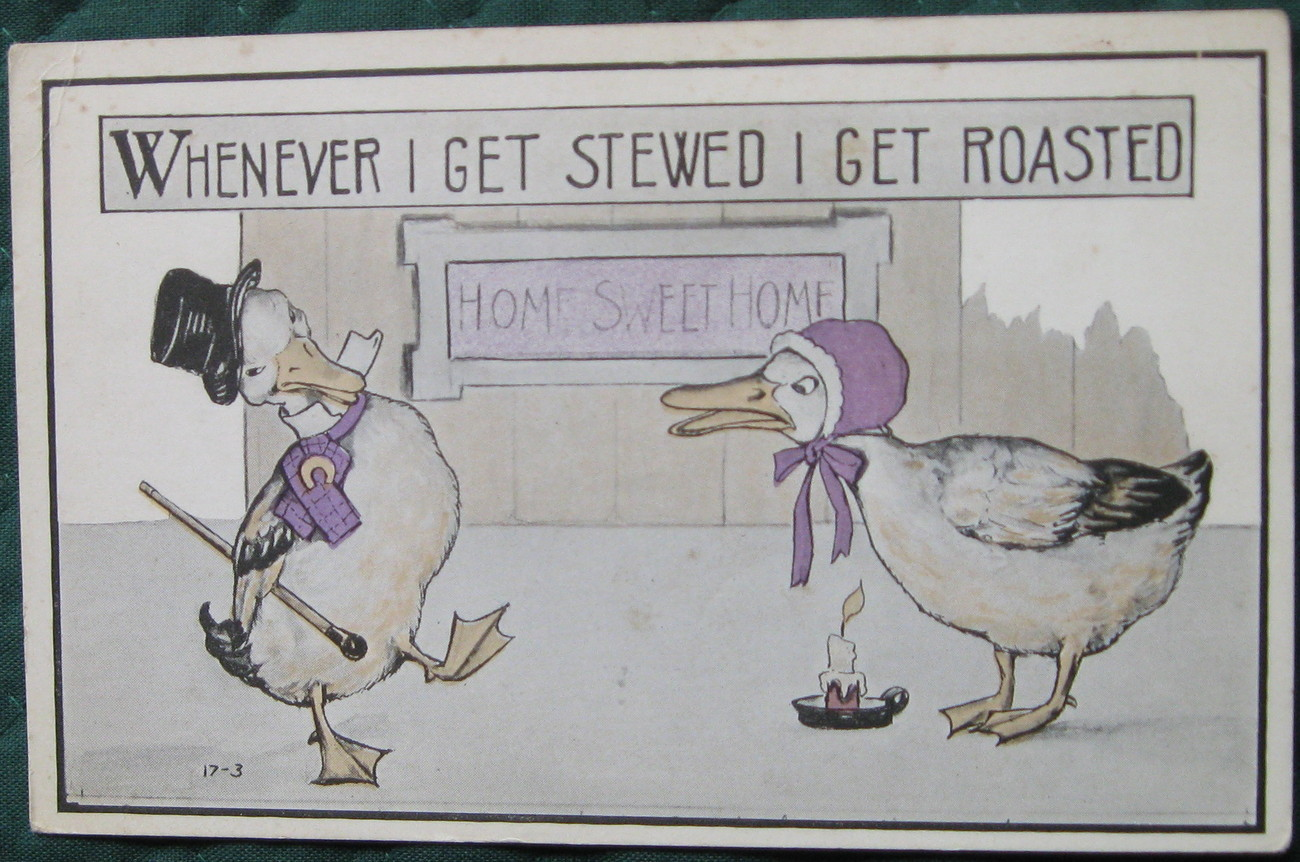Early Divided back Era, white bordered, humorous postcard, p