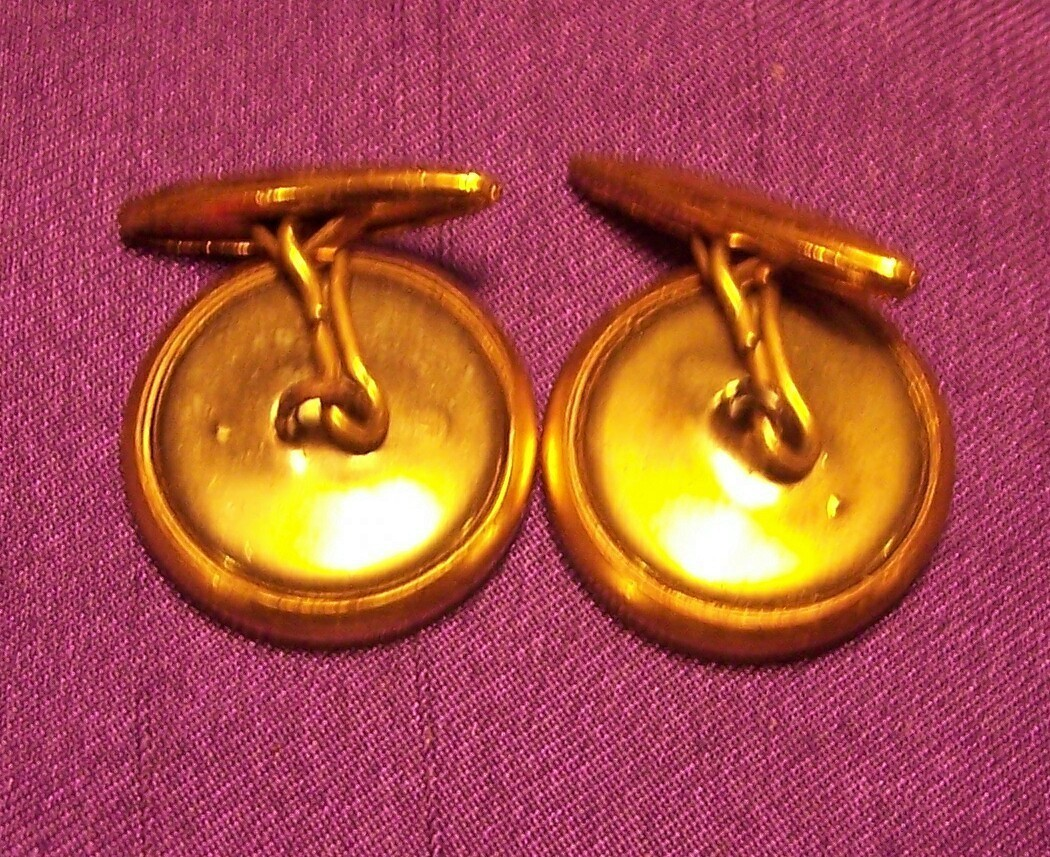 Vintage Gold Toned Button Round Shaped Cuff Links