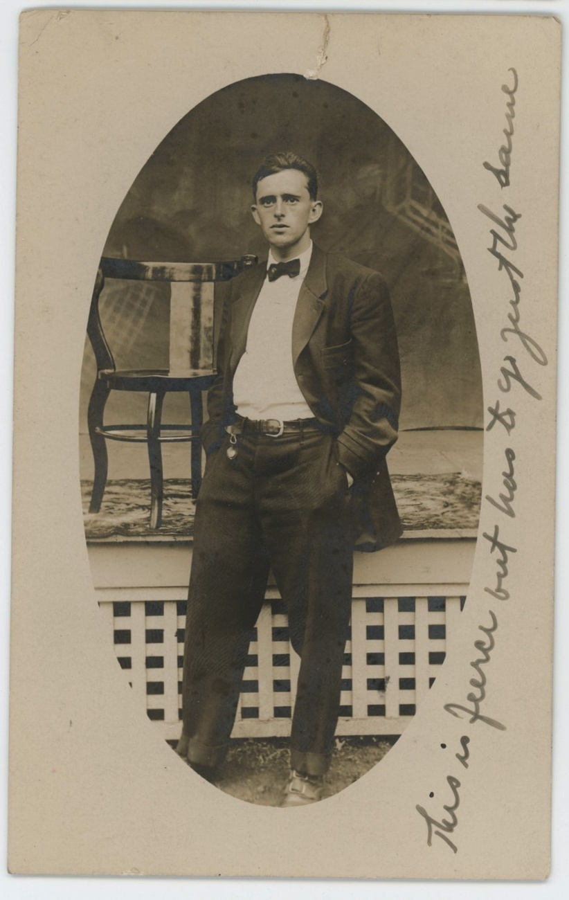 dapper Ralph vintage real photo postcard portrait 1908 chair