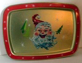 Vintage 1980s Metal Christmas Tray with Claymation Santa // Fun Retro Lo... - $8.00