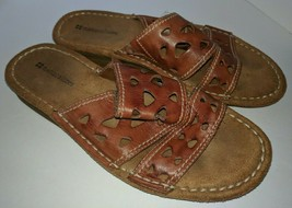 Women's Naturalizer Cut Out Brown Leather Slide Sandals Size 7 M - $22.76