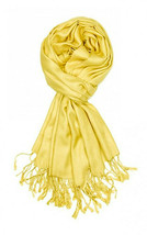 Yellow Fashion Pashmina Shawl Scarf 64 x 28 inches Tassels Womens - $9.11