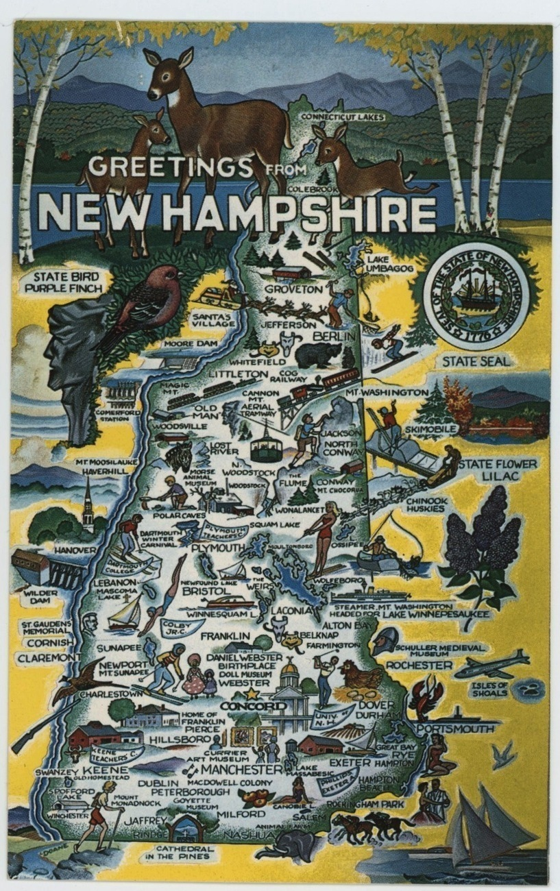 New Hampshire map vintage postcard Forward's pictorial scenic chrome