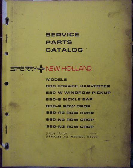New Holland 880 Forage Harvester and Attachments Parts Manual