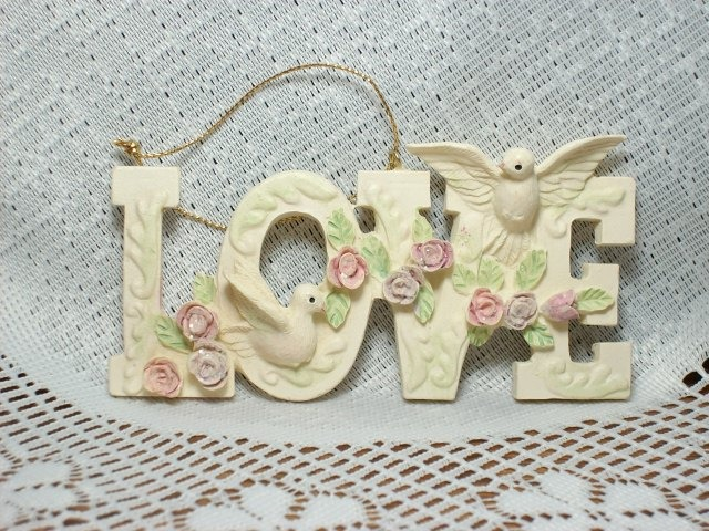 "Victorian style ""LOVE"" Ornament with Doves and Roses- Very Pretty!"