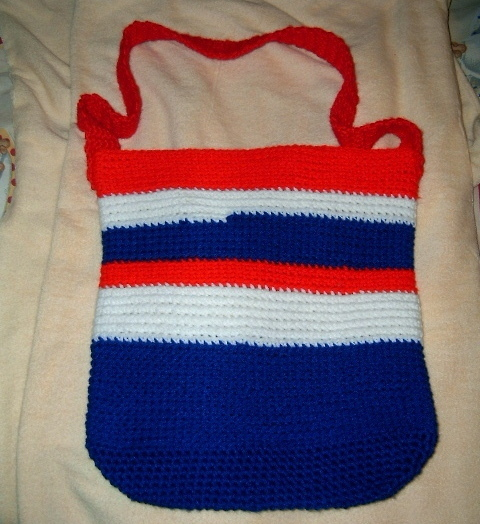 Handcrafted Crocheted Book Bag Hobo Purse Red White Blue