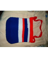 Handcrafted Crocheted Book Bag Hobo Purse Red White Blue - $9.95