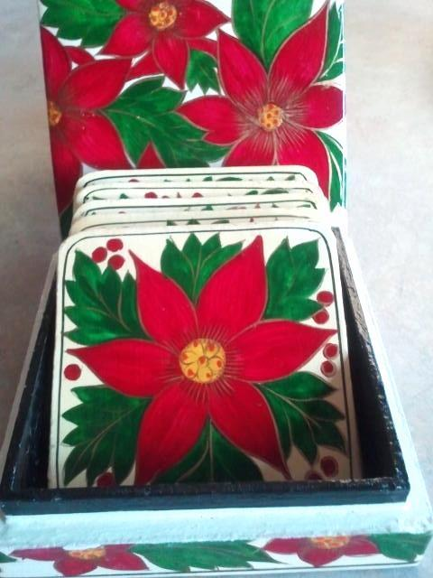 Primary image for Holiday Poinsettias Coaster Set Made in India