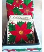 Holiday Poinsettias Coaster Set Made in India - $10.00