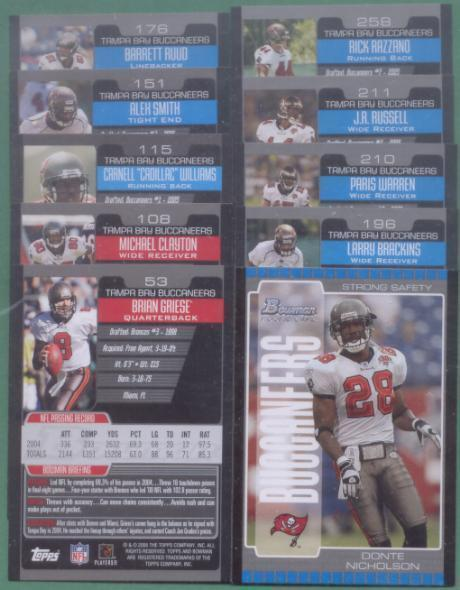 2005 Bowman Tampa Bay Buccaneers Football Team Set