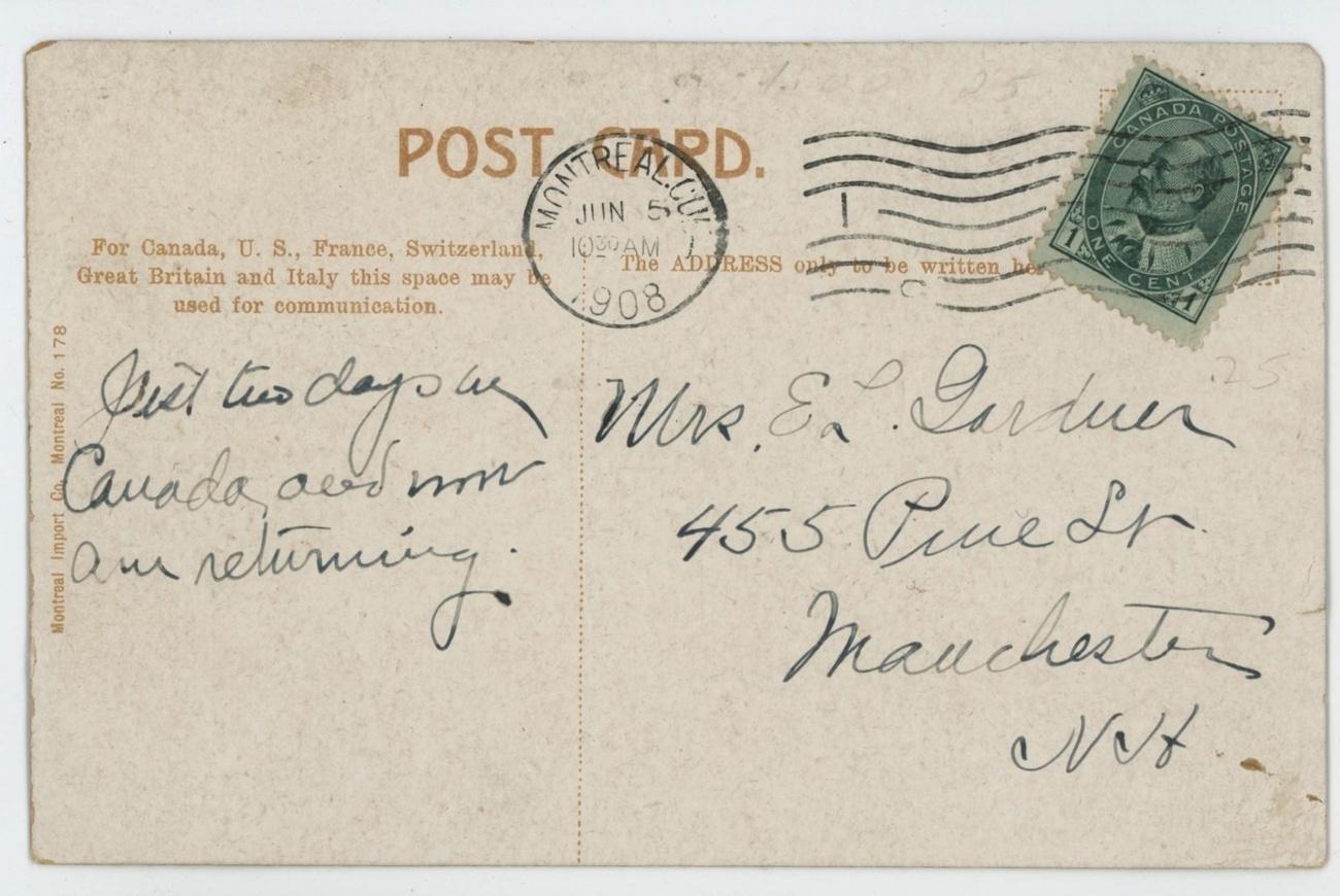Montreal Pacific railway bridge vintage postcard Montreal 1908 steam boat paddle