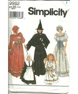 Simplicity Sewing Pattern 9982 Girls Costume Witch Pilgrim Angel Sz 2 - ... - $9.98