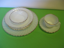 Fire-King White Swirl 24K Gold Rim Three (3) Place Settings Made in USA - $56.99