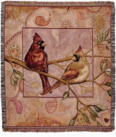50x60 CARDINAL Bird Nature Tapestry Throw Afghan Blanket